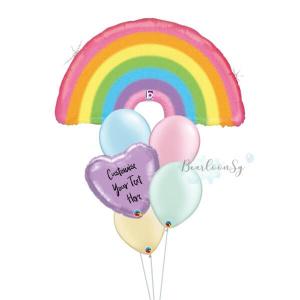 Glitter Pastel Rainbow Personalised Balloon Bouquet