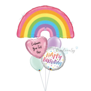 Glitter Pastel Rainbow Birthday Balloon Bouquet
